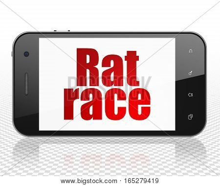 Business concept: Smartphone with red text Rat Race on display, 3D rendering
