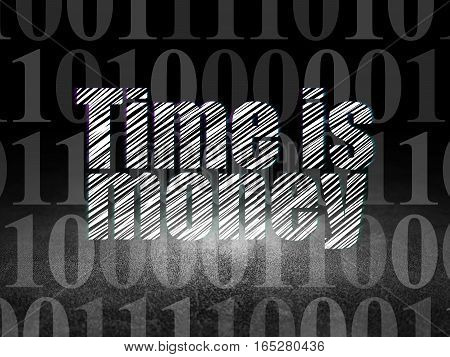 Business concept: Glowing text Time is Money in grunge dark room with Dirty Floor, black background with  Binary Code