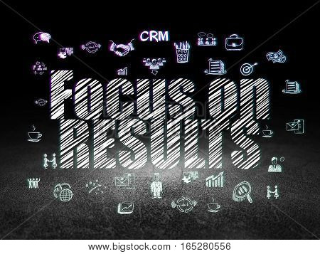 Business concept: Glowing text Focus on RESULTS,  Hand Drawn Business Icons in grunge dark room with Dirty Floor, black background