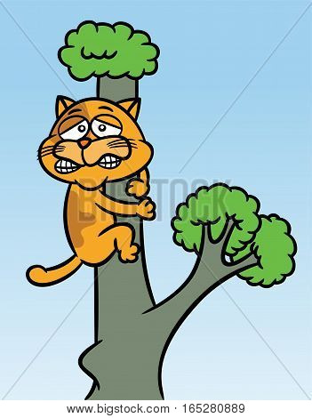 Cat Stuck up the Tree Cartoon Illustration