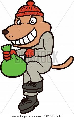 Dog Burglar Cartoon Character Isolated on White