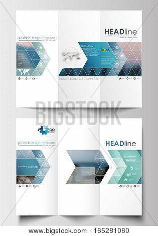 Tri-fold brochure business templates on both sides. Flat design blue color travel decoration layout, easy editable vector template, colorful blurred natural landscape