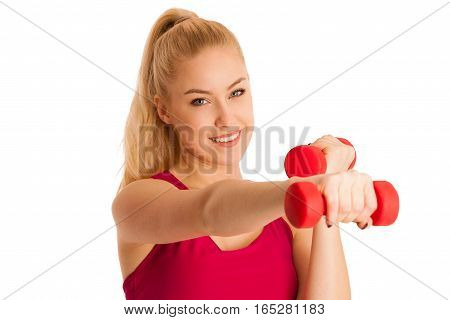 Cute Young Blond Woman Working Out In Fitness Gym Isolated Over White Background