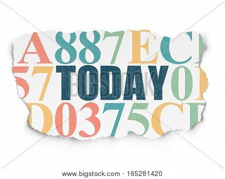 Time concept: Painted blue text Today on Torn Paper background with  Hexadecimal Code