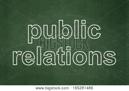 Advertising concept: text Public Relations on Green chalkboard background