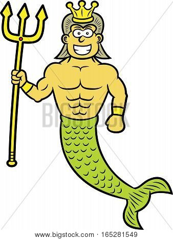 King Neptune with Trident and Crown Cartoon