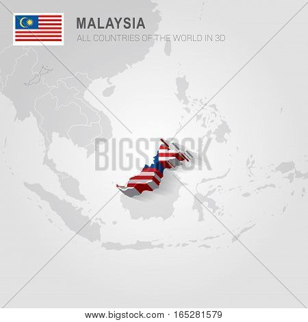 Malaysia painted with flag drawn on a gray map.