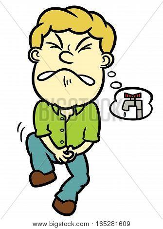 Man Needs to Pee Cartoon Illustration Isolated on White