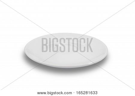 Flat white shallow porcelain saucer on white background from side