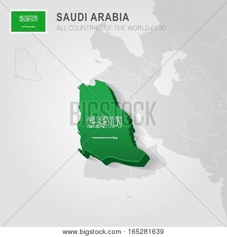 Saudi Arabia painted with flag drawn on a gray map.