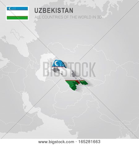 Uzbekistan painted with flag drawn on a gray map.