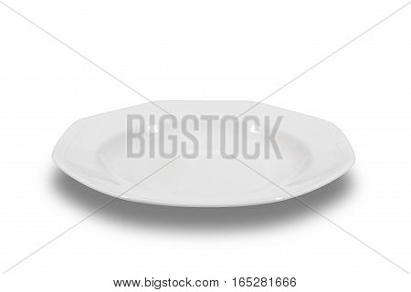 Soup deep white plate with wide shoulders and embellishment on white background from side