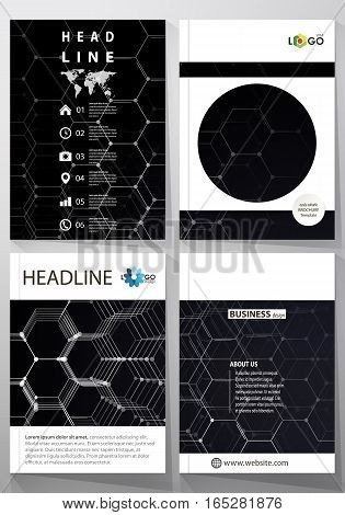 Templates for brochure, magazine, flyer. Cover template, easy editable vector, layout in A4 size. Chemistry 3D pattern, hexagonal molecule structure on black. Motion design. Geometric background