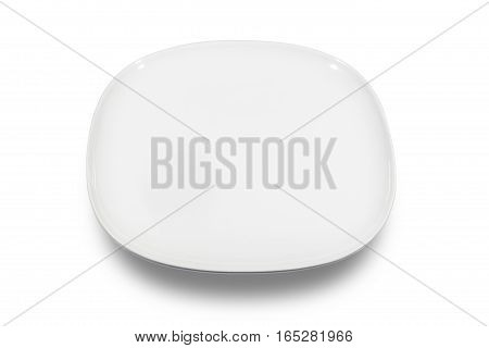 Flat white square plate with rounded corners on white background from high angle