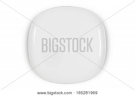 Flat white square plate with rounded corners on white background directly from above