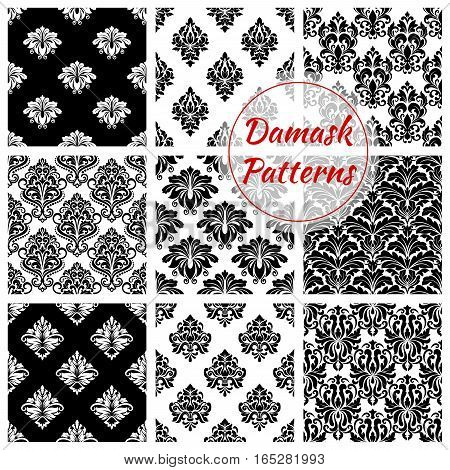 Damask patterns of luxury flowery backdrops and flourish ornate ornament tiles and baroque background with rococo design. Vector set of seamless floral embellishment and tracery motif