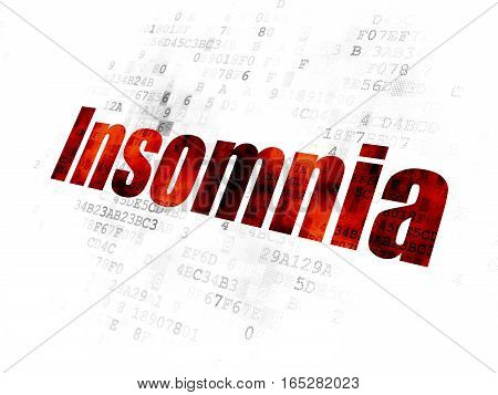 Health concept: Pixelated red text Insomnia on Digital background