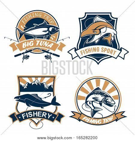 Fishing icons set or emblems with fishing rods, hook and baits, river or lake fish catch of tuna, carp perch or sturgeon salmon or trout, catfish or eel. Fisherman sport club or fishery industry vector badges