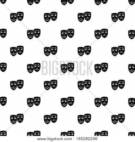 Comedy and tragedy theatrical masks pattern. Simple illustration of comedy and tragedy theatrical masks vector pattern for web design