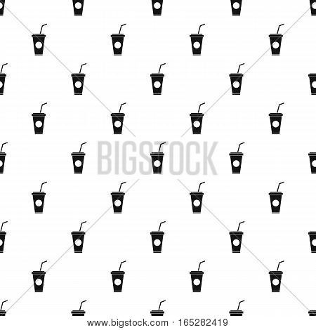 Paper cup with straw pattern. Simple illustration of paper cup with straw vector pattern for web design