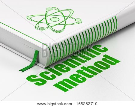 Science concept: closed book with Green Molecule icon and text Scientific Method on floor, white background, 3D rendering