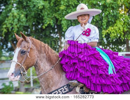 GUADALAJARA MEXICO - SEP 01 : Charra participates at the 23rd International Mariachi & Charros festival in Guadalajara Mexico on September 01 2016.
