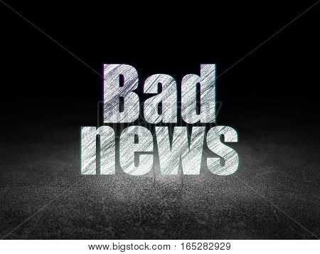 News concept: Glowing text Bad News in grunge dark room with Dirty Floor, black background