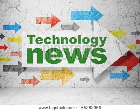 News concept:  arrow with Technology News on grunge textured concrete wall background, 3D rendering