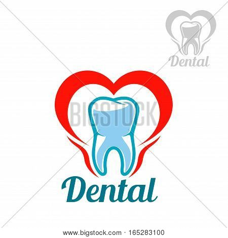 Dentistry white tooth vector icon or isolated emblem with mouth heart symbol. Sign or badge for stomatology dentist office or dental health and care clinic, tooth paste or mouthwash product packaging design