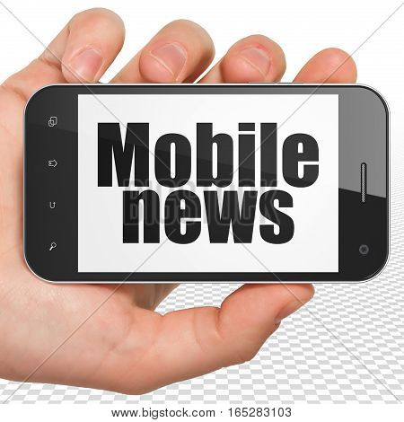 News concept: Hand Holding Smartphone with black text Mobile News on display, 3D rendering