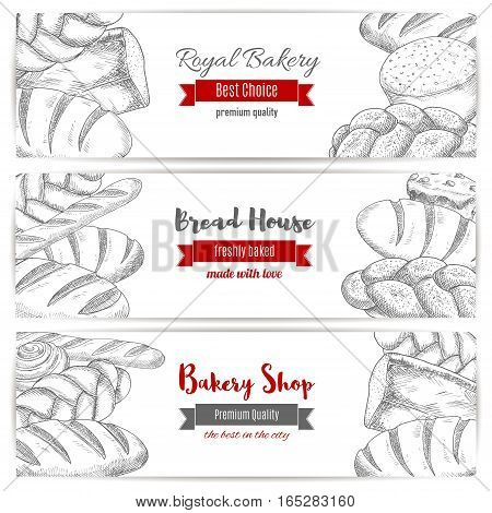 Bakery or baker shop horizontal banners set of white wheat toast bread, rye loaf brick or loaf, sweet sesame roll bun and croissant, bread sketch of wheat bagel, braided bread and fresh baked pretzel. Vector design for premium royal pastry