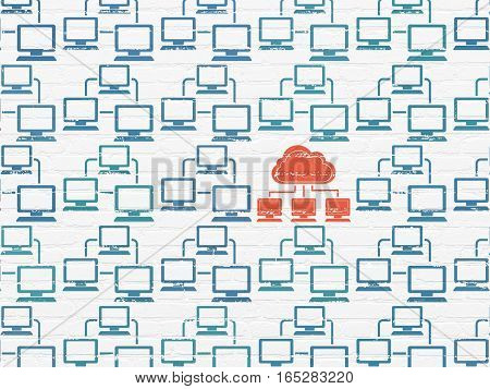 Cloud computing concept: rows of Painted blue lan computer network icons around red cloud network icon on White Brick wall background