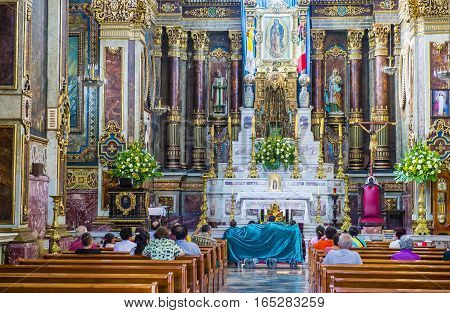 GUADALAJARA MEXICO - AUG 29 : The interior of Guadalajara Cathedral in Guadalajara Mexico. on August 29 2016. The cathedral was built in 1541
