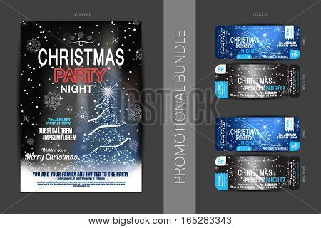 Vector Christmas night party promotional bundle of blue poster and tickets with Christmas tree snowflakes wave and snowfall on the dark gray background.