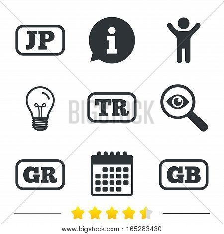 Language icons. JP, TR, GR and GB translation symbols. Japan, Turkey, Greece and England languages. Information, light bulb and calendar icons. Investigate magnifier. Vector