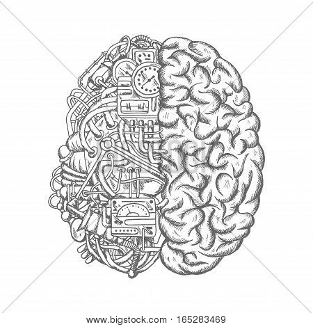 Brain mechanism sketch vector icon. Human brain half of machine parts with pipes, engine ignition, electronic relay and sensor detectors, timer and measure meter gauge, mechanic gears or drives and toggle switchers. Mechanical process concept