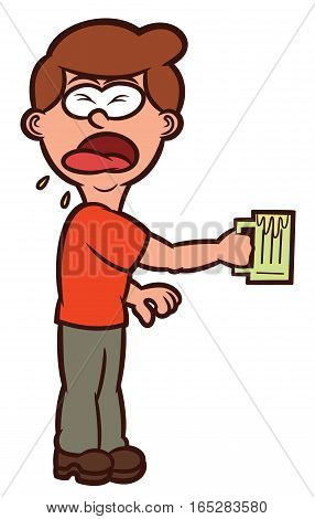 Man Tasting Bad Taste Drink Cartoon Illustration