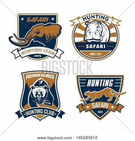 Hunting club emblems and vector icons set. Wild African safari animals elephant with tusks, grizzly bear and rhinoceros or hippopotamus, cheetah panther. Vector signs or ribbon badges for hunter adventure