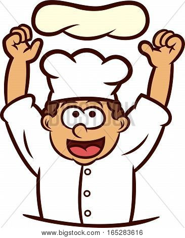 Pizza Chef Tossing Dough into the Air Cartoon Illustration