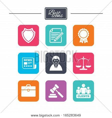 Lawyer, scales of justice icons. Clients, auction hammer and law judge symbols. Newspaper, award and agreement document signs. Colorful flat square buttons with icons. Vector