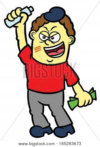 Sports Fan with Money and Mineral Bottle Cartoon Illustration