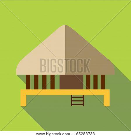 Stilt house icon. Flat illustration of stilt house vector icon for web