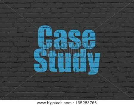Education concept: Painted blue text Case Study on Black Brick wall background