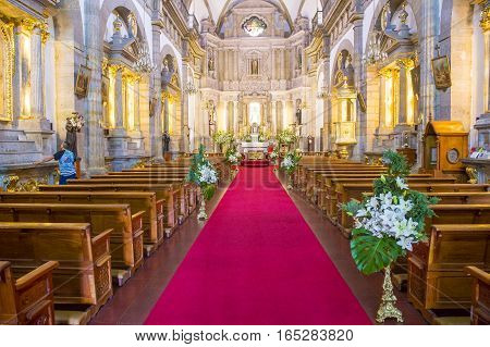 GUADALAJARA MEXICO - AUG 29 : The interior of Parroquia De Nuestra Senora Del Rosario church in Guadalajara Mexico on August 29 2016. The church was built in 1958