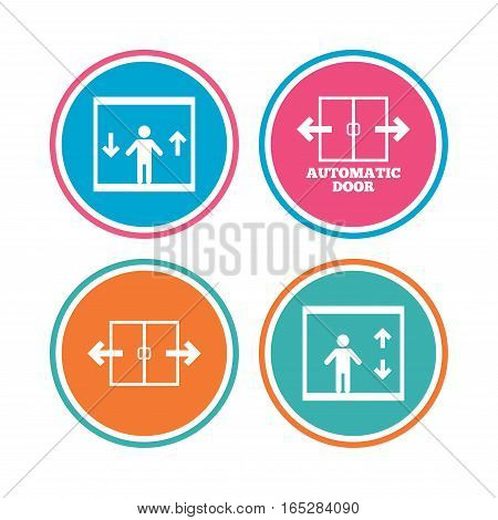 Automatic door icons. Elevator symbols. Auto open. Person symbol with up and down arrows. Colored circle buttons. Vector