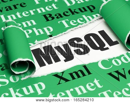 Database concept: black text MySQL under the curled piece of Green torn paper with  Tag Cloud, 3D rendering