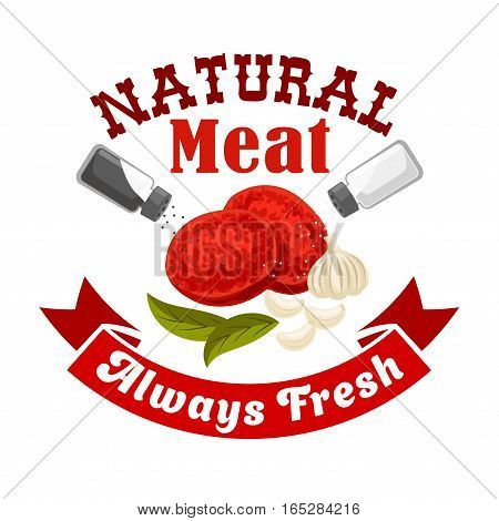 Meat vector icon for butcher shop or butchery sign or emblem of fresh pork, mutton or beef meat cutlets and meaty rissole or chop steak with greens seasonings and salt or pepper for steak house restaurant or farmer meat shop