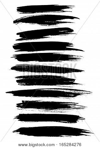 Black paint lines and strokes or underlines stripes of watercolor or marker brush and highlighter. Vector horizontal felt-tip pen dabs set. Abstract isolated brushstrokes and ink smear smudges and stains traces poster