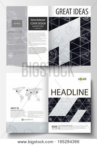 Business templates for bi fold brochure, magazine, flyer. Cover template, layout in A4 size. High tech design, connecting system. Science and technology concept. Futuristic abstract vector background