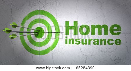 Success Insurance concept: arrows hitting the center of target, Green Home Insurance on wall background, 3D rendering